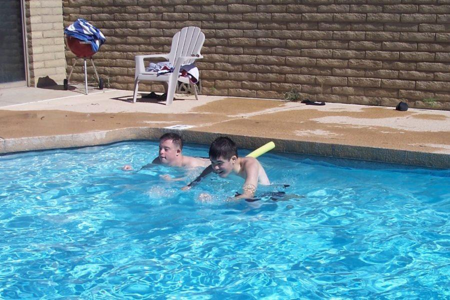 Adults with developmental disabilities swimming