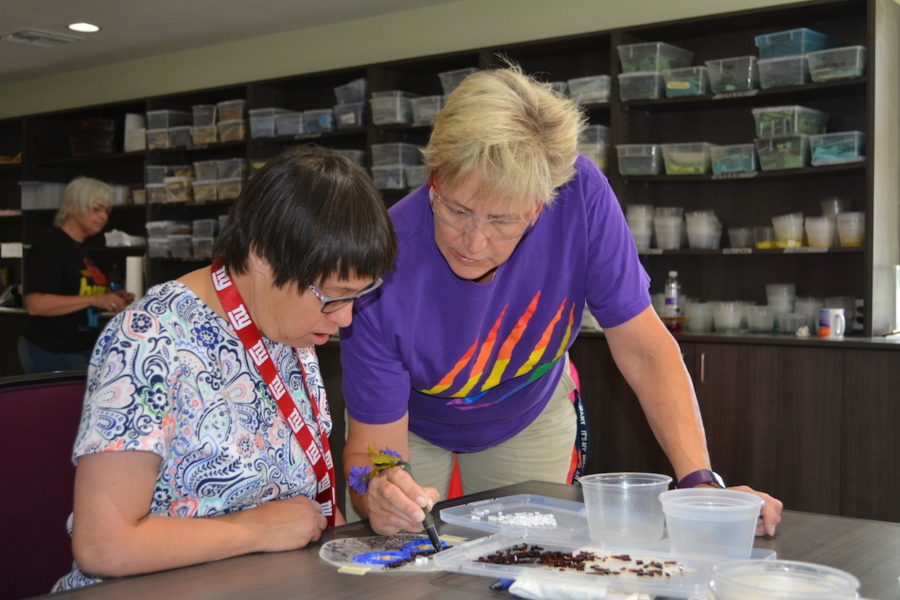 As part of Rainbow Academy, Ranchers learn fine and practical arts, like beading